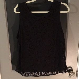 Lace black tank with zip back size XL